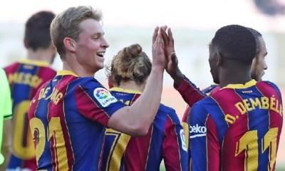 Esultanza De Jong Dembele Barcelona Liga