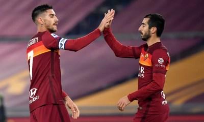 esultanza gol Pellegrini-Mkhitaryan Roma