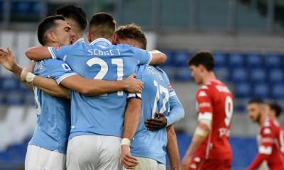 Esultanza gol giocatori Lazio-Fiorentina