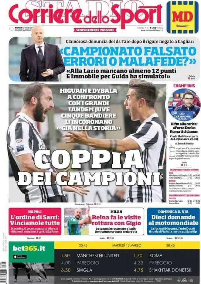 prima pagina corriere 13 marzo