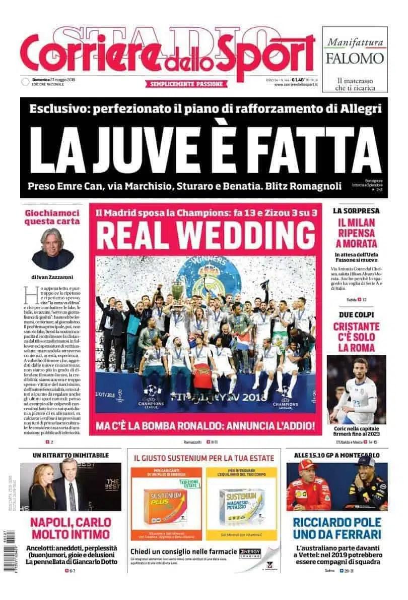 prima pagina corriere dello sport 27 maggio 2018