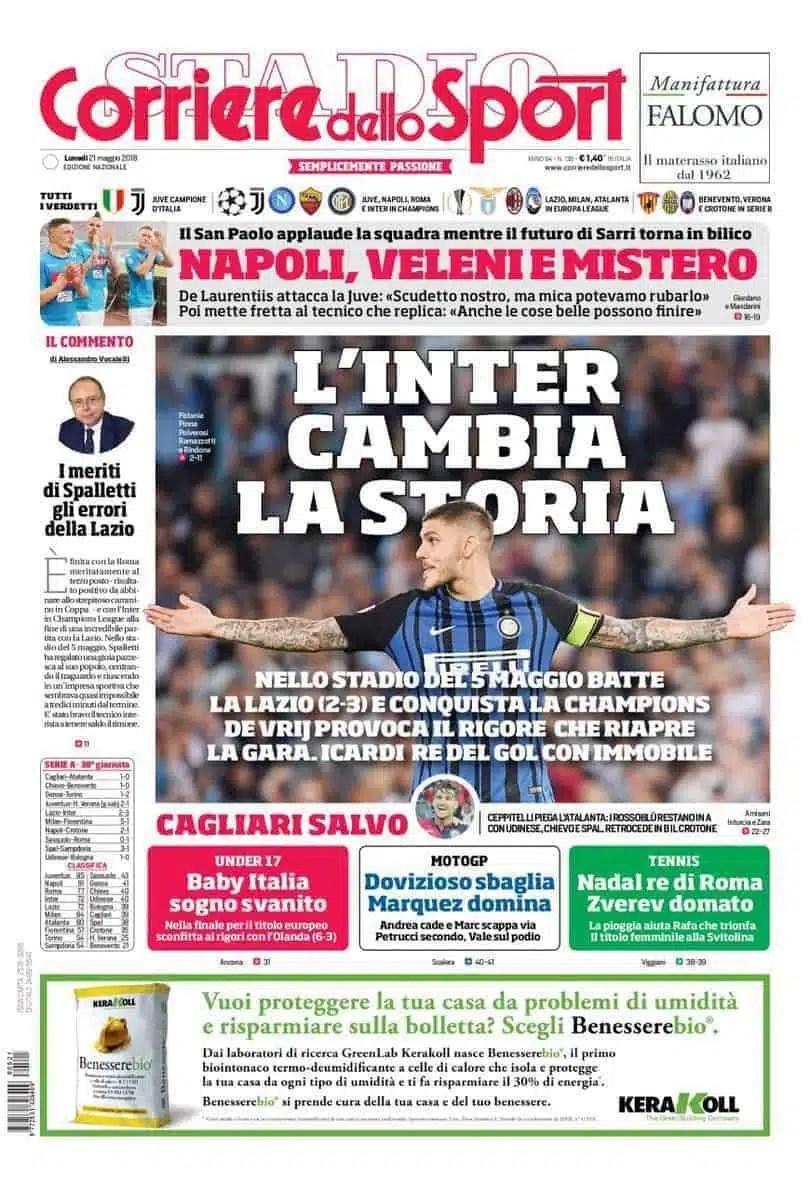 prima pagina corriere dello sport lunedi 21 maggio 2018