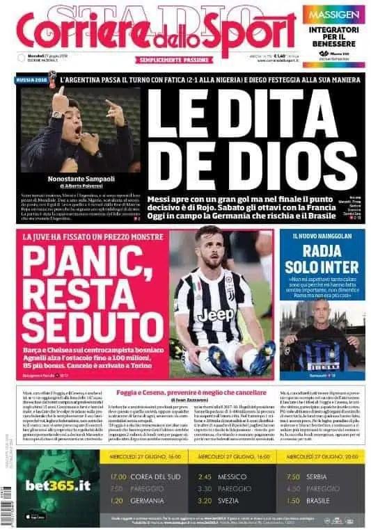 prima pagina corriere dello sport mercoledi 27 giugno 2018