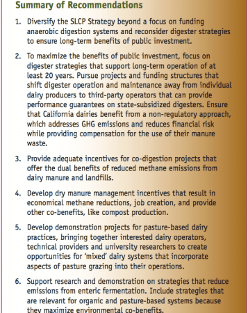 CalCAN's dairy methane recommendations