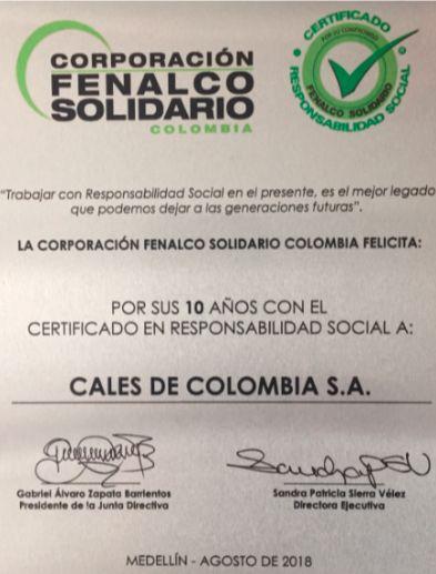 Calco, certificado de responsabilidad social Fenalco
