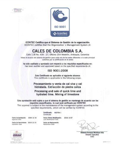 Certificación Icontec Calco, Cales de Colombia