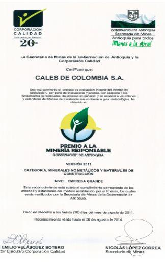 Premio a la mineria responsable, Cales de Colombia