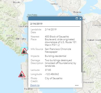 screen shot of new CGS recent landslide database showing details submitted to CAlandslide@conservation.ca.gov