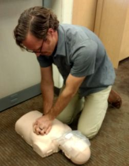 Jordan Martin of CalGEM practices CPR