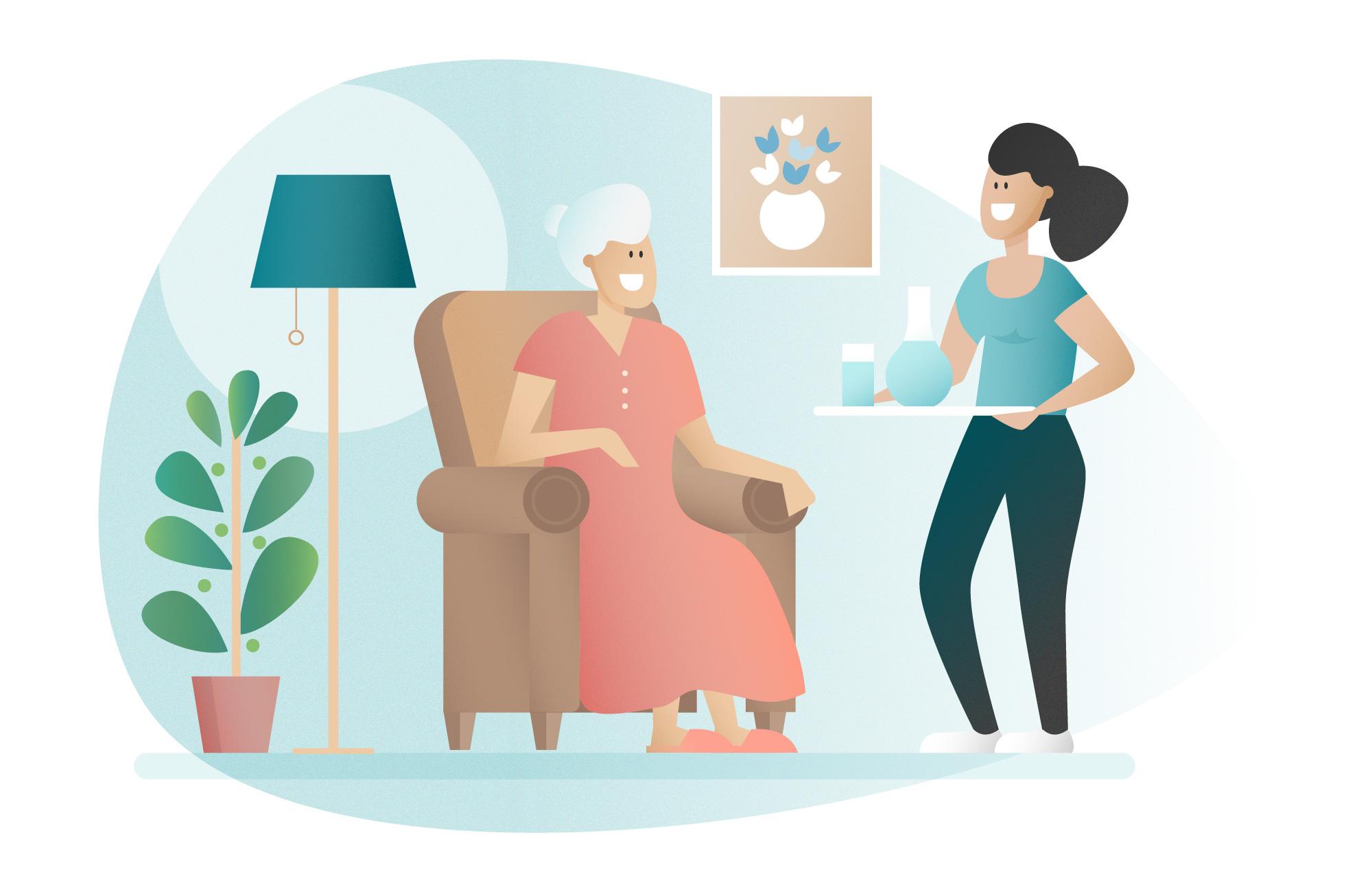 illustration aide à domicile servant à boire à une femme âgée