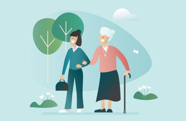 illustration aide à domicile avec femme âgée fond bleu