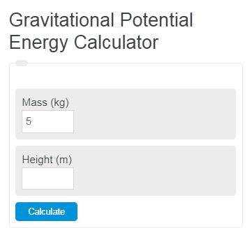 gravitational potential energy calculator