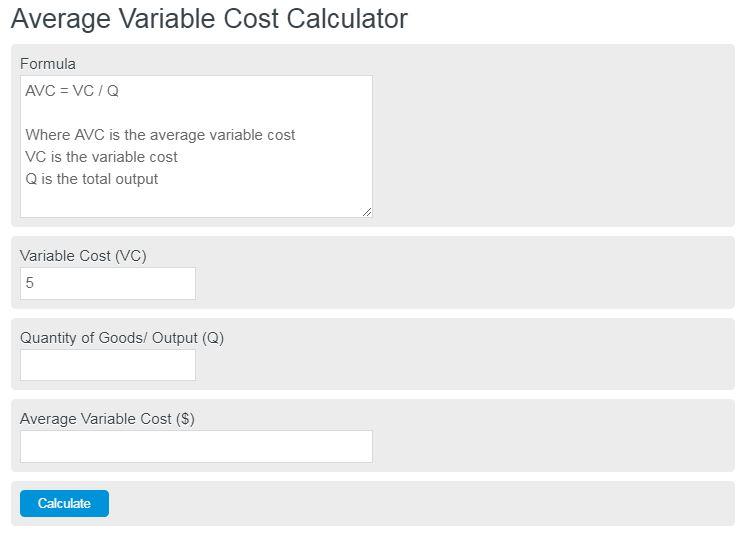 average variable cost calculator