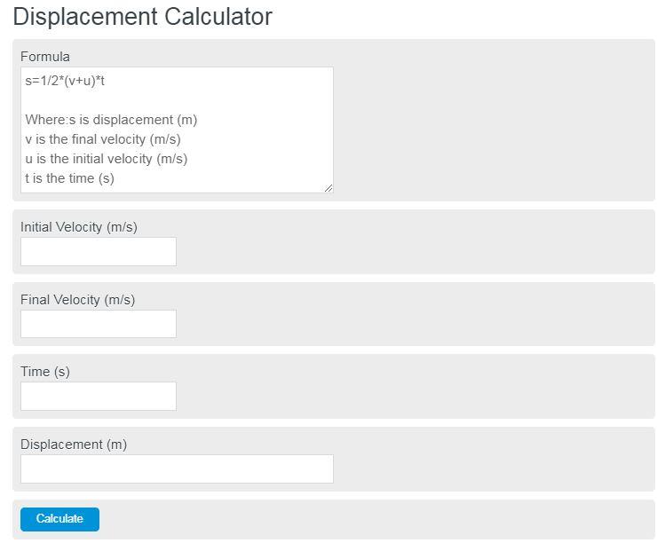 displacement calculator