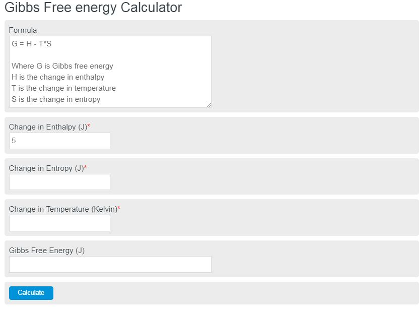 gibbs free energy calculator