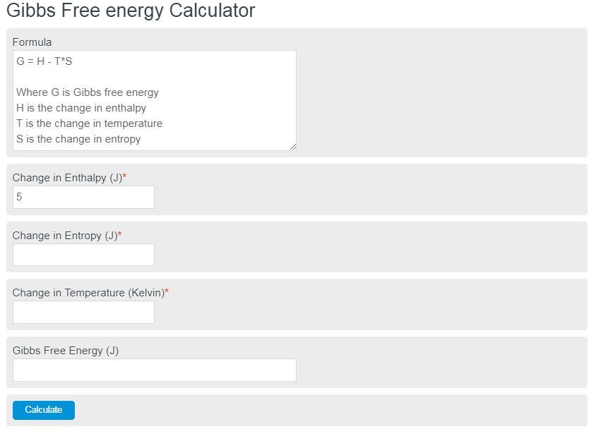 gibbs free energy calculator