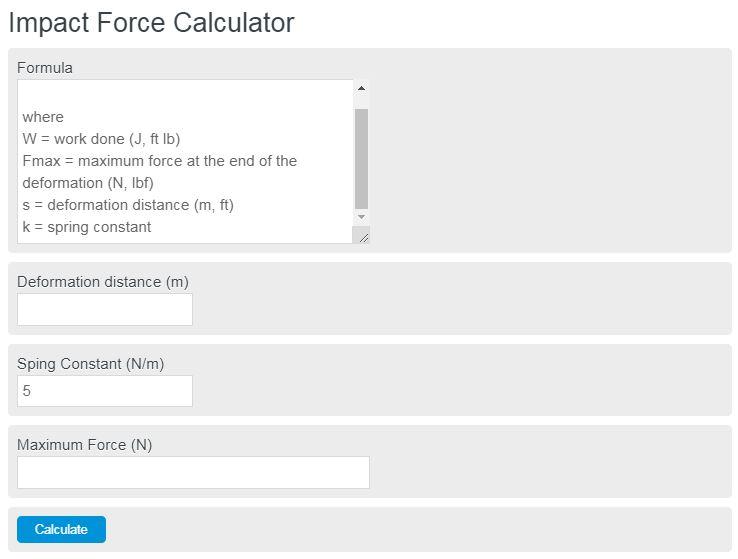 impact force calculator
