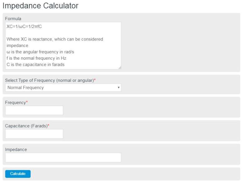 impedance calculator