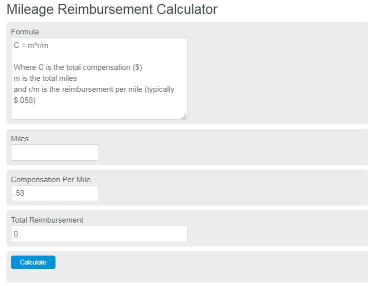 Mileage Reimbursement Calculator