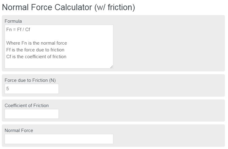 normal force calculator
