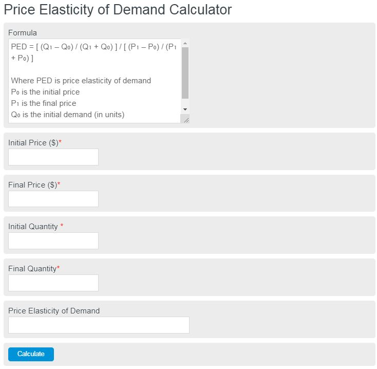 Price Elasticity Of Demand Calculator Calculator Academy