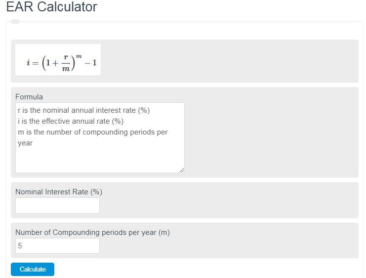 ear calculator