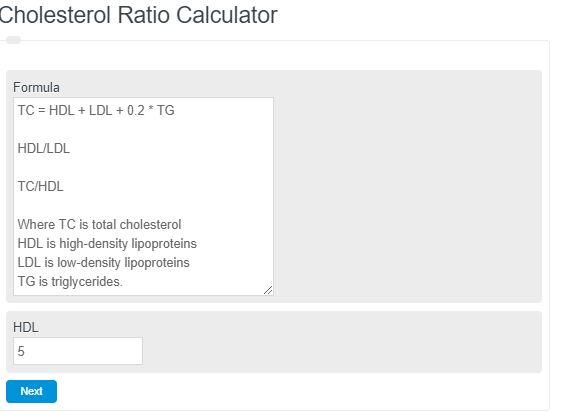 Cholesterol Ratio Calculator