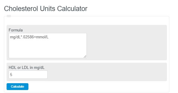 Cholesterol Units Calculator Mg Dl Mm0l L Calculator Academy
