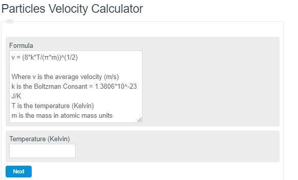 Particles Velocity Calculator