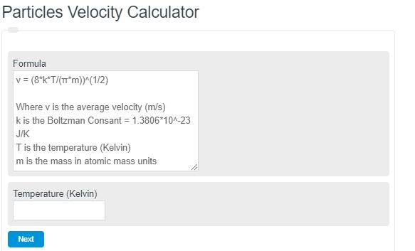 Particles Velocity Calculator