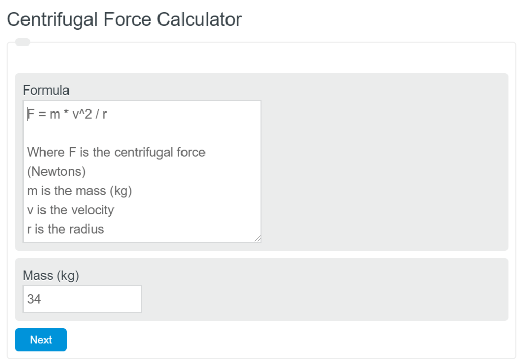 centrifugal force calculator