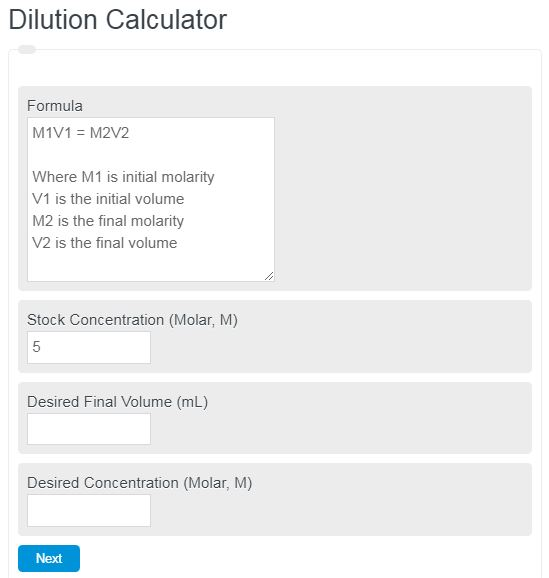 dilution calculator