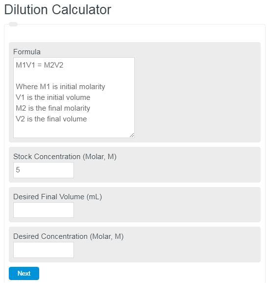 dilution calculator