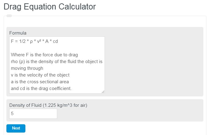 Drag Equation Calculator