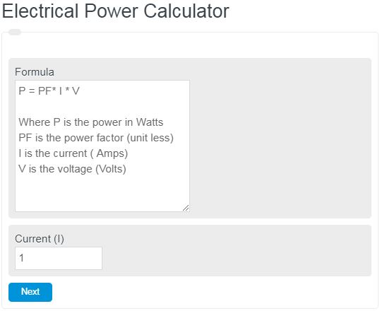 Electrical Power Calculator