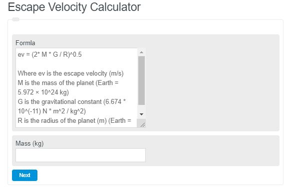 Escape Velocity Calculator