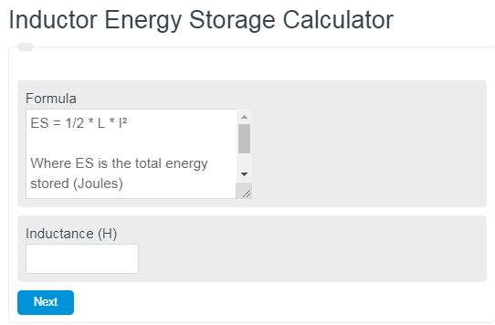 Inductor Energy Storage Calculator