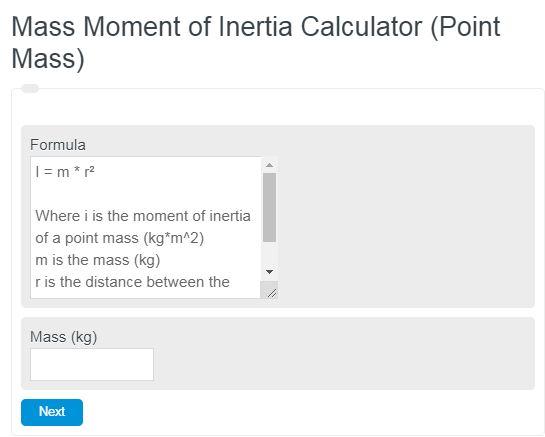 Mass Moment of Inertia Calculator