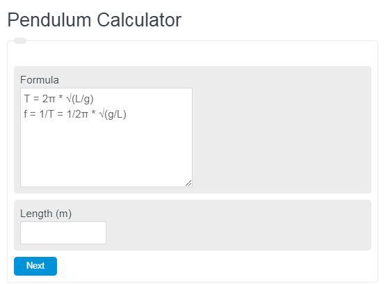 pendulum calculator