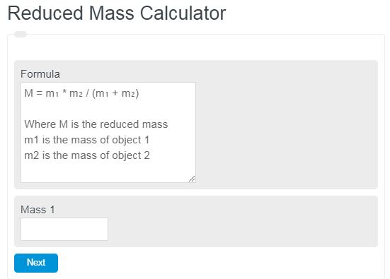 Reduced Mass Calculator