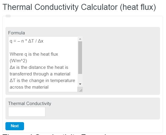 Thermal Conductivity Calculator