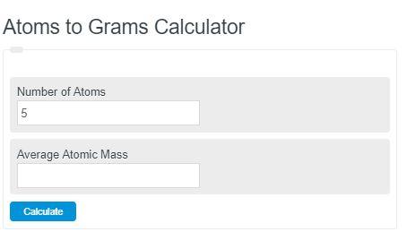 atoms to grams calculator