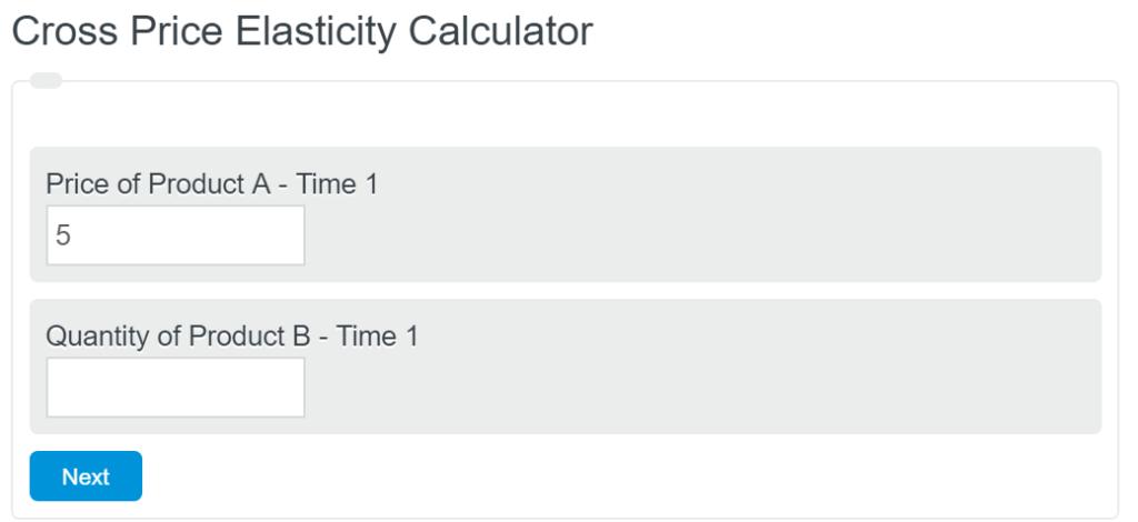 cross price elasticity calculator