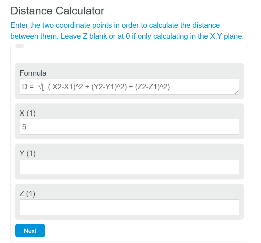 find the distance between two points calculator