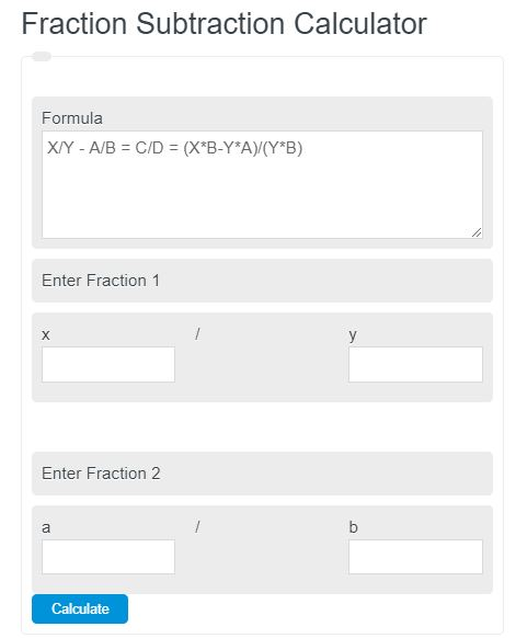fraction subtraction calculator
