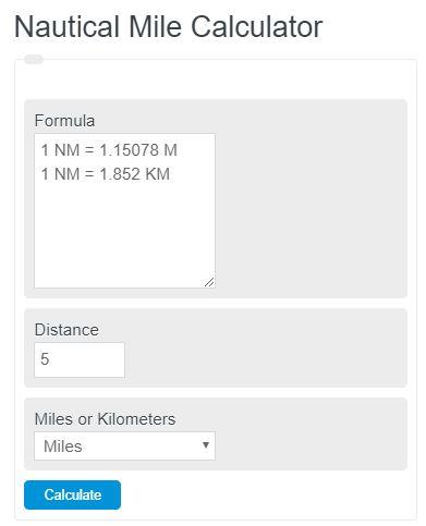 nautical miles calculator