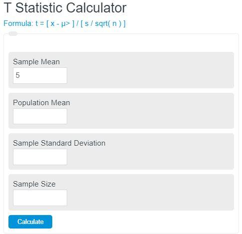 t statistic calculator