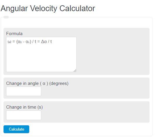angular velocity calculator