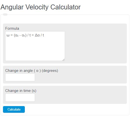 angular velocity calculator