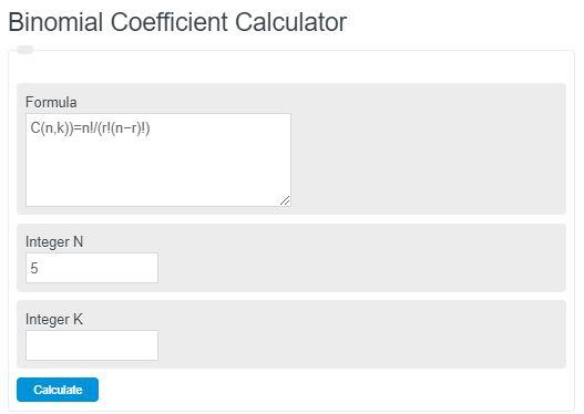 binomial coefficient calculator